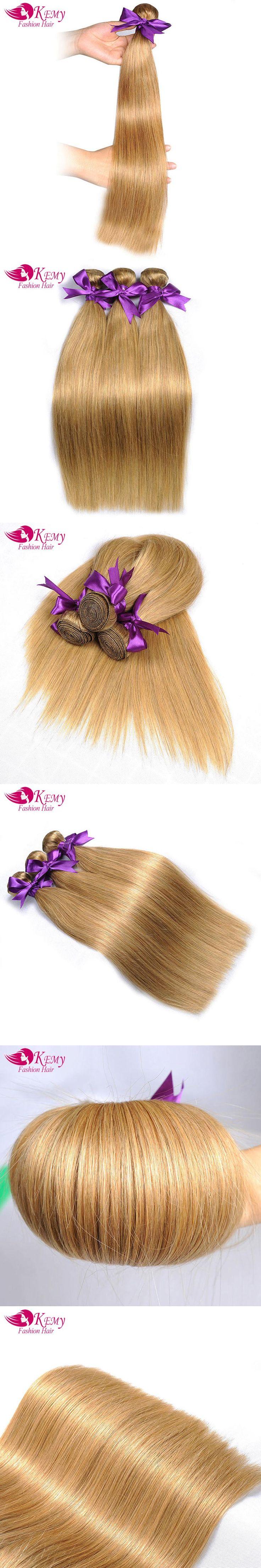 KEMY Remy Hair bundles Brazilian Straight Hair Weave 3Pcs Lot light brown Colored Salon Hair 27# Low Ratio longest Hair PP 15%