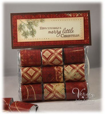 Simple Wrapped Hershey Nuggets and Treat Bag. Topper Tutorial  -  Poetic Artistry: Merry Little Treat Bags