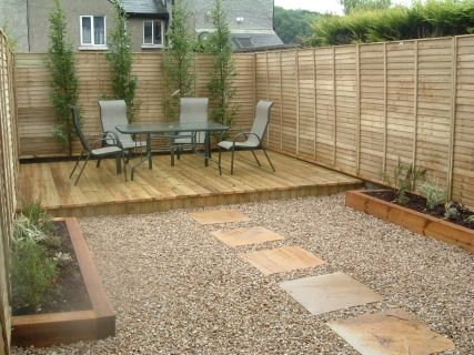 Small Deck In Corner Of Fences Small Garden Paving