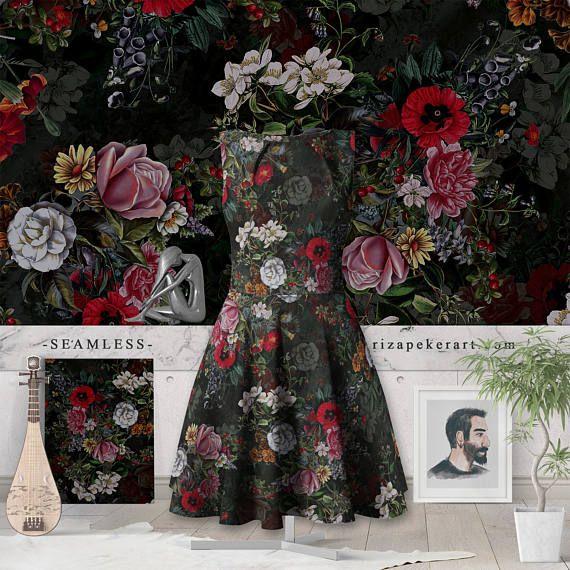 Botanical Flowers IV Dark Seamless Pattern #prints #patterns #botanical #etsy