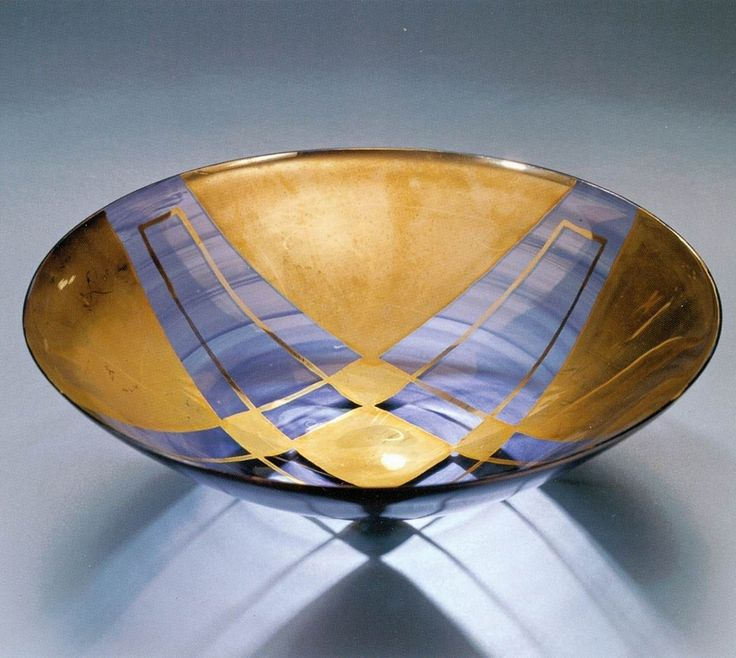Lubomir Blecha, glass bowl produced for XI. Triennale Milano, light-smoked glass decored by gold, 1957, H: 15,0 cm, D: 28,6 cm, executed by Bohumil Blecha glass rafinery in Kamenicky Senov (Steinschoenau), UMPRUM Prague, (Steinberg foundation, Vaduz, Liechtenstein), Czechoslovakia