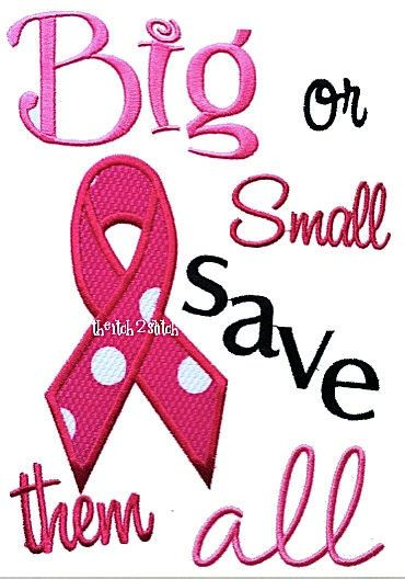 Big or Small breast cancer awareness Applique and embroidery design. $4.00, via Etsy.