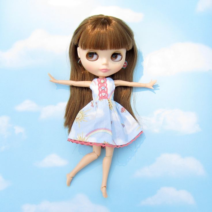 Happy Summer Blythe Doll Dress with Blue Sky, Clouds, Rainbows   Brown Eyed Rose