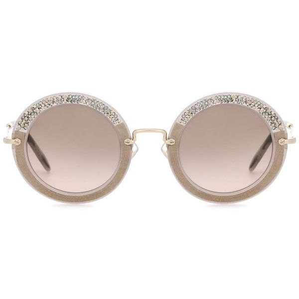 Miu Miu Noir Round Sunglasses ($330) ❤ liked on Polyvore featuring accessories, eyewear, sunglasses, neutrals, miu miu, miu miu sunglasses, round frame sunglasses, round frame glasses and round sunglasses