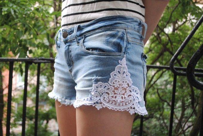 Make your own lacey denim cutoff shorts.