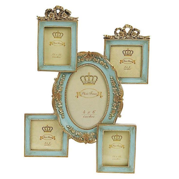 Κορνίζα Τοίχου Classic Χρυσό-Γαλάζιο (5 θέσεων)