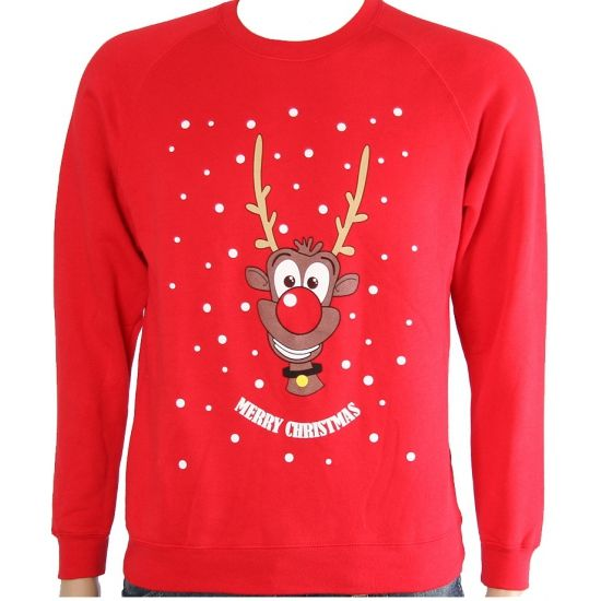 Foute Rudolph print truien voor kids  Rode kersttrui met rendier voor kinderen. Rode kersttrui met rendier opdruk. De kersttrui is gemaakt van 100% acryl.  EUR 18.95  Meer informatie