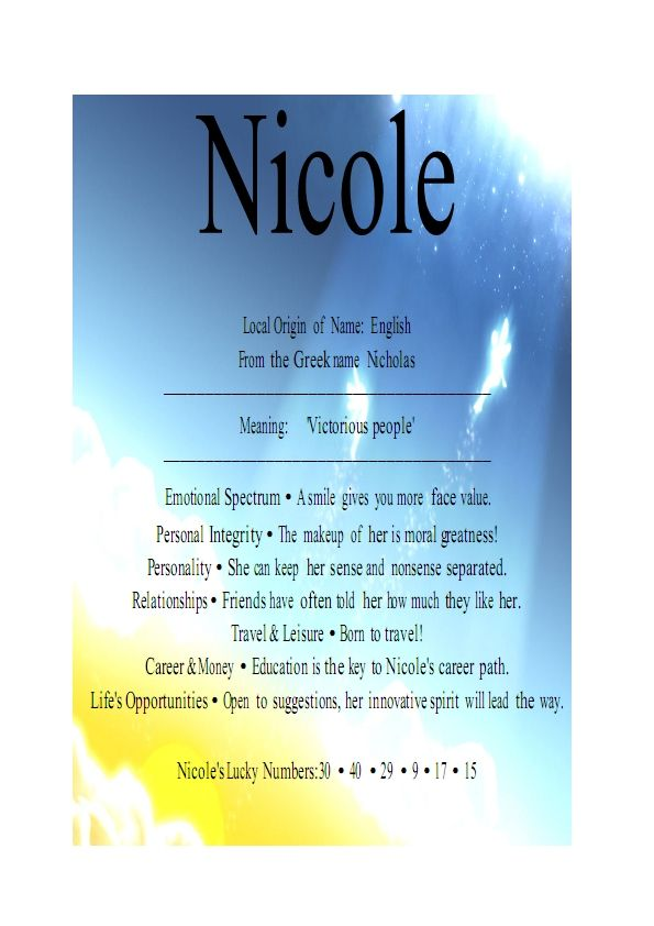 35 best All things NICOLE images on Pinterest | Names, Astrology and Job For A Cowboy Name Meaning on job title, job search, job name ideas, job help, job family,