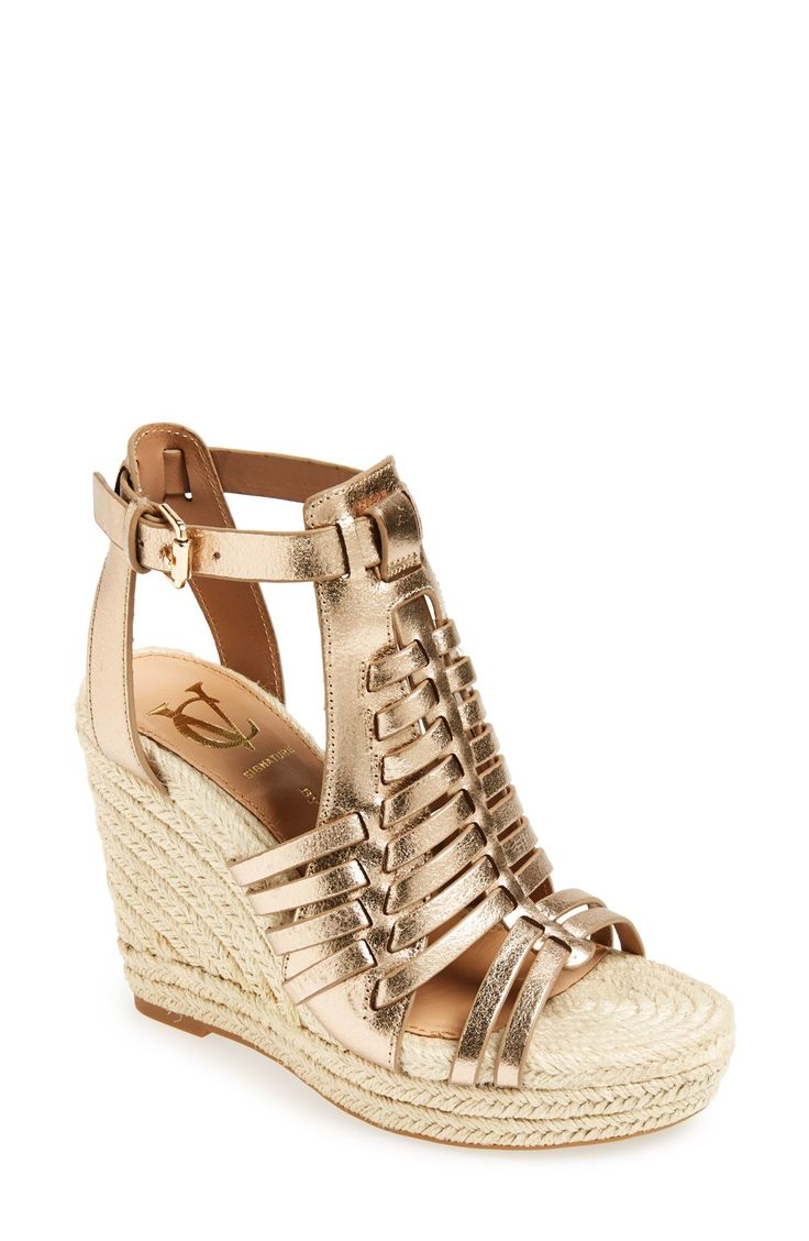 Obsessed with these gold espadrille wedge sandals.