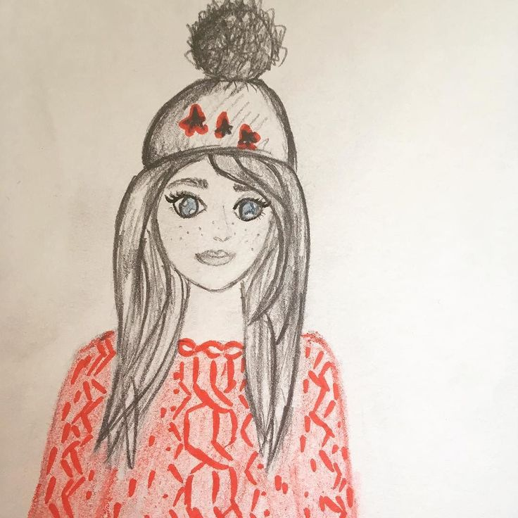 Inspired by winter  #illustrator #girls #pencils #drawings #sketch #winter #illustration #art #red #painting #kaizerart #hobby