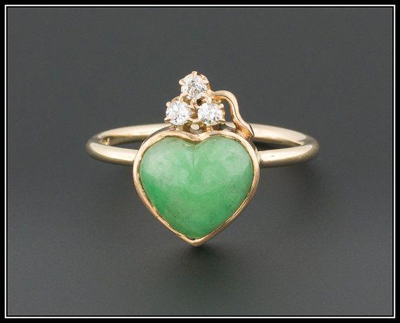 Antique Diamond Shamrock & Chrysoprase Heart Ring, 14k Gold Ring, Irish Promise Ring