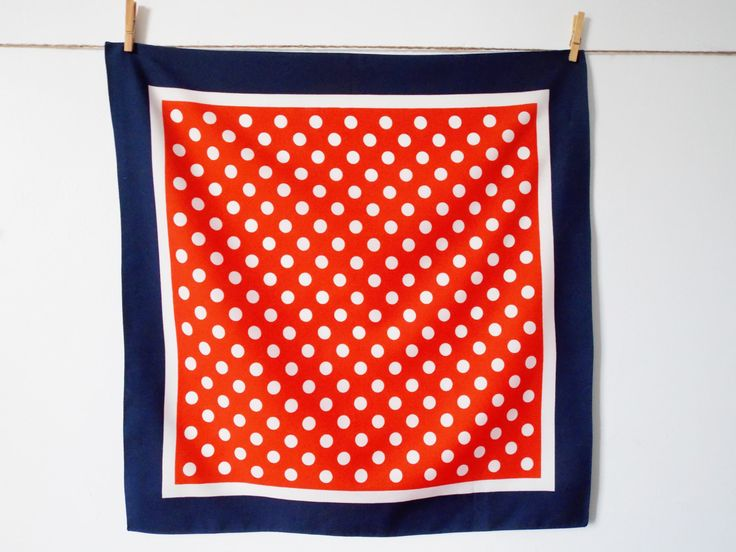 Dotted vintage scarf, red, navy blue and white, vintage handkerchief, vintage bandana, by LeVieuxGrenier on Etsy
