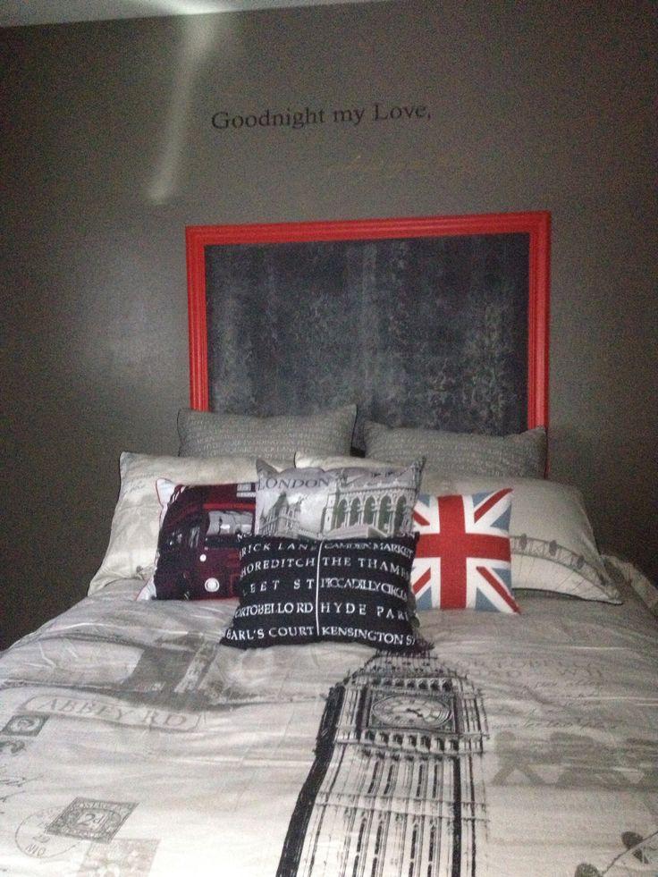 Chalkboard instead of Headboard! Tommy's  London Theme Room.