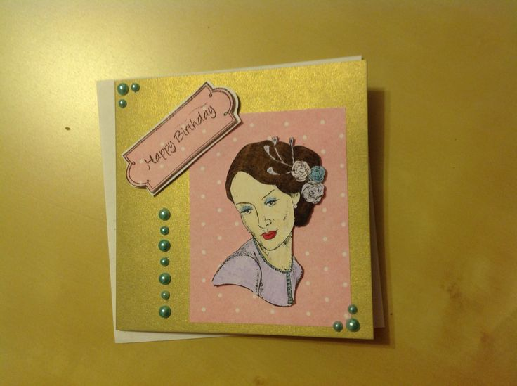 #Happy #birthday #card #happybirthdaycard #70s #80s #vintage #pink #purple #Lady #square #cards #spots #pretty #stamp #gold