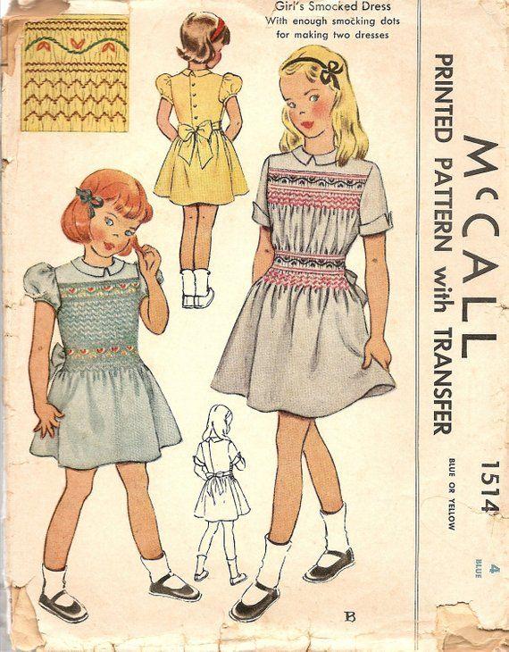 Vintage 1940s Girl/'s Smocked Dress Pattern ~ size 6mos
