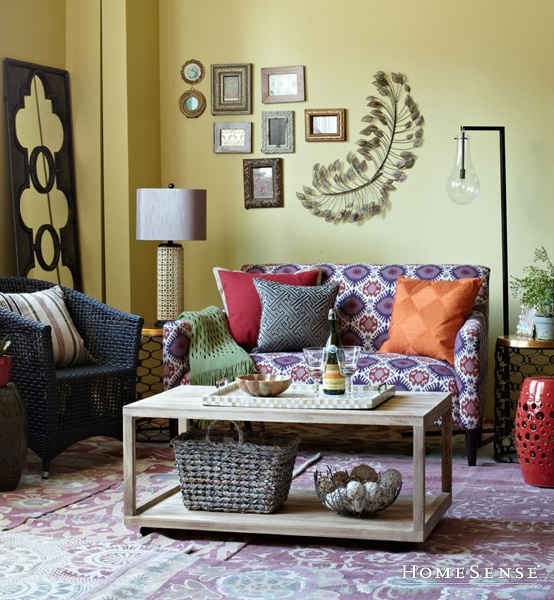 Gorgeous and eclectic living room space suzani print love for Homesense coffee table