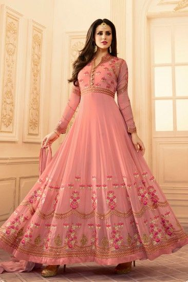 Stylish Pink Georgette Anarkali Churidar Suit With Dupatta - DMV15387  #pinksuits #eid2018 #eiddresses #embroidery