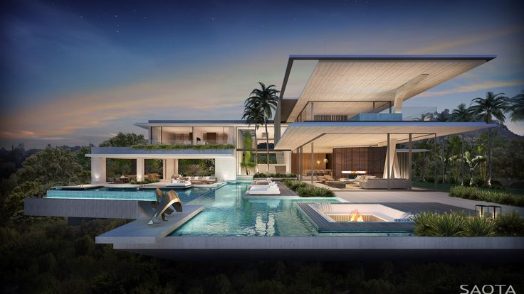 US Bellagio: Overlooking Bel-Air Country Club on a promontory site. The design inspired by the Los Angeles case-study's homes, implements cantilevers...