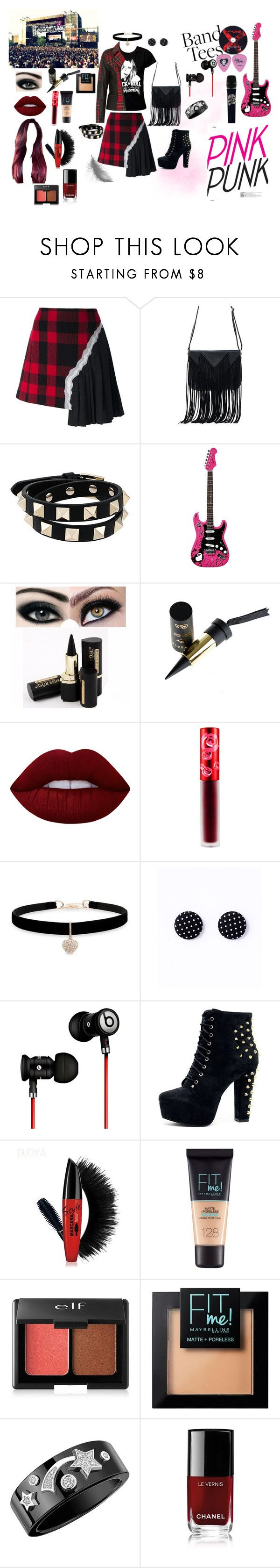 """""""Black is the new pink"""" by feliciamia on Polyvore featuring Karl Lagerfeld, Maison Margiela, WithChic, Valentino, Lime Crime, Betsey Johnson, Beats by Dr. Dre, Free People, Maybelline and Forever 21"""