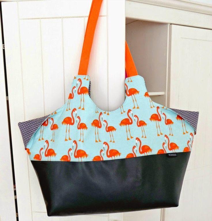 """Flamingo-Strandtasche nach dem eBook """"BIGsummer"""" von keko-kreativ - genäht von (c) www.schoenstebastelzeit.de"""