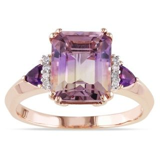 Miadora Rose Plated Silver 3 1/2ct TGW Ametrine, Amethyst and Diamond Ring | Overstock.com Shopping - The Best Deals on Gemstone Rings