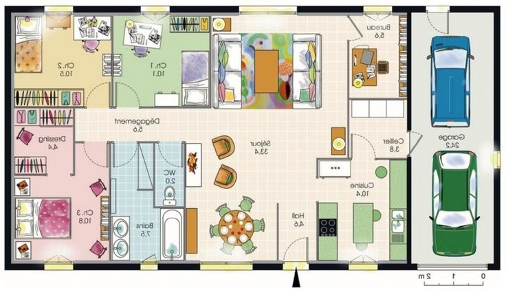 25 best ideas about plan maison plain pied on pinterest Plan maison plain pied avec suite parentale