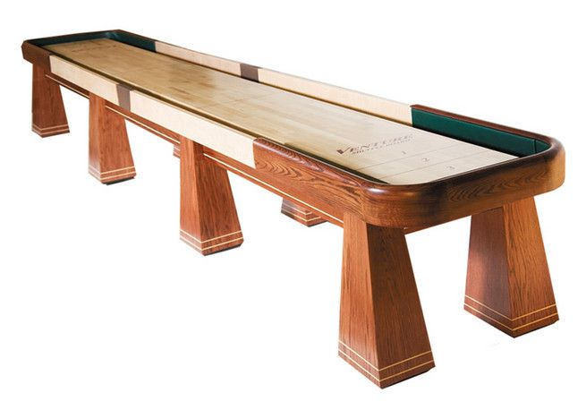 Venture is also known for pushing the envelope with innovative styling. The Saratoga is a perfect example of a beautiful shuffleboard table with a little edge, which includes Alumicap Weights (4 red, 4 blue), Triple Crown Yellow Ice wax and Maintenance Kit, rules and 'how to play' information.
