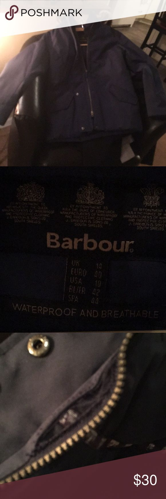 Barbour jacket Blue barbour parka. Zipper needs to be restitched by collar. Otherwise EUC. Price reflects Damage. Barbour Jackets & Coats Puffers