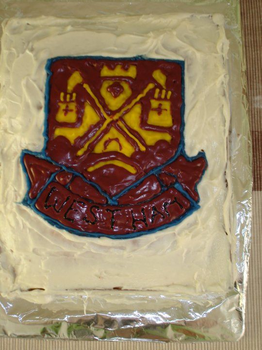 My father-in-law's 72nd birthday - He is a massive West Ham fan. This would have looked much nicer if I had used fondant but I think the gel icing did a good enough job.