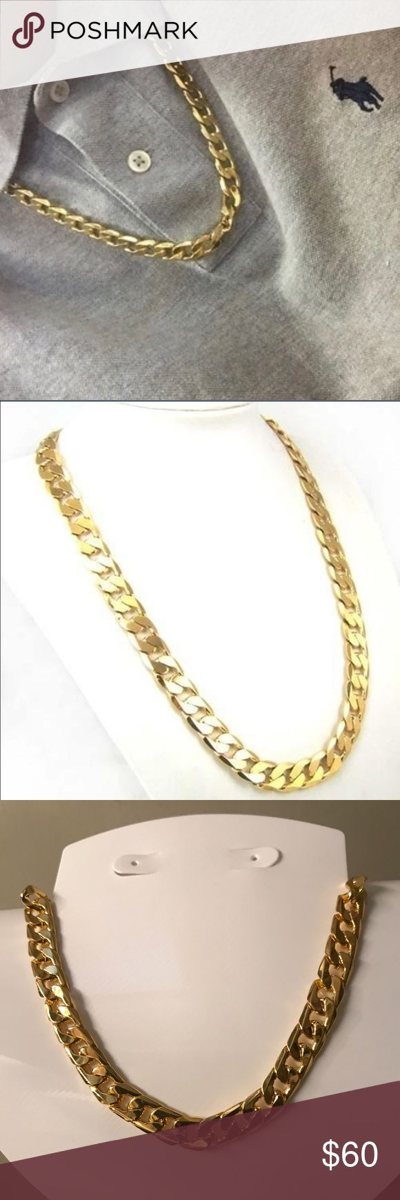 24k Gold Curb Link Chain 24k Gold Plated Curb Link Chain Accessories Jewelry