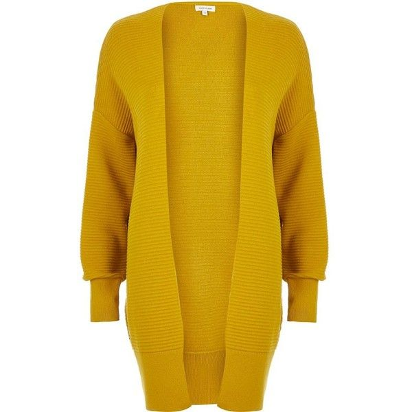 River Island Yellow slouchy textured cardigan (£46) ❤ liked on Polyvore featuring tops, cardigans, jackets, sweaters, knitwear, women, yellow, yellow long sleeve top, long sleeve tops and slouchy tops