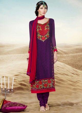 Pleasant Purple Embroidery Thread Work Georgette Churidar Suit #Anarkali #Churidar #Pakistani #Suit #Salwar #Bollywood http://www.angelnx.com/Salwar-Kameez