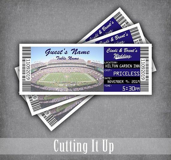 Ravens Football Place Card Tickets Vikings Wedding Reception Etsy Sports Themed Wedding Reception Place Cards Sports Themed Wedding Reception