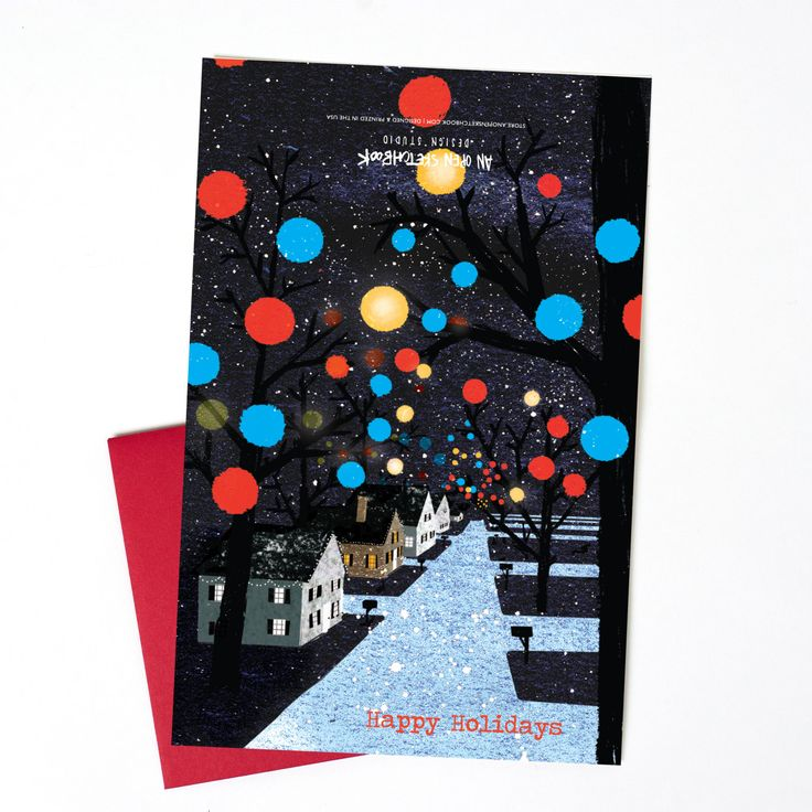 New to anopensketchbook on Etsy: Christmas Balls Single Holiday Card Greensboro Christmas Lights Greeting Card (4.50 USD)