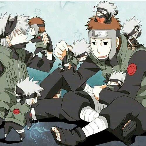 Kakashi, Yamato, chibi, cute, Chidori, young, different ages, time lapse, childhood; Naruto