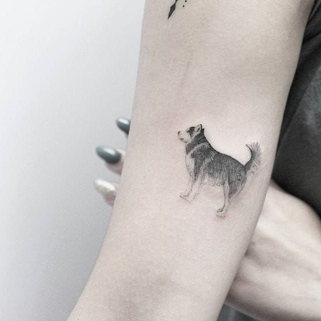 Husky tattoo by Lindsay April. #dog #husky #dotwork #pointillism #subtle #LindsayApril