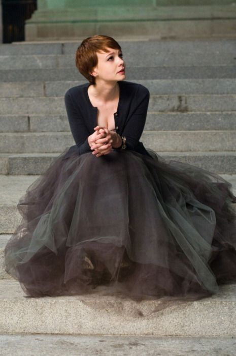This is it.... the perfectly chic, not expensive tulle ball skirt in charcoal, paired with a tiny black cardi.