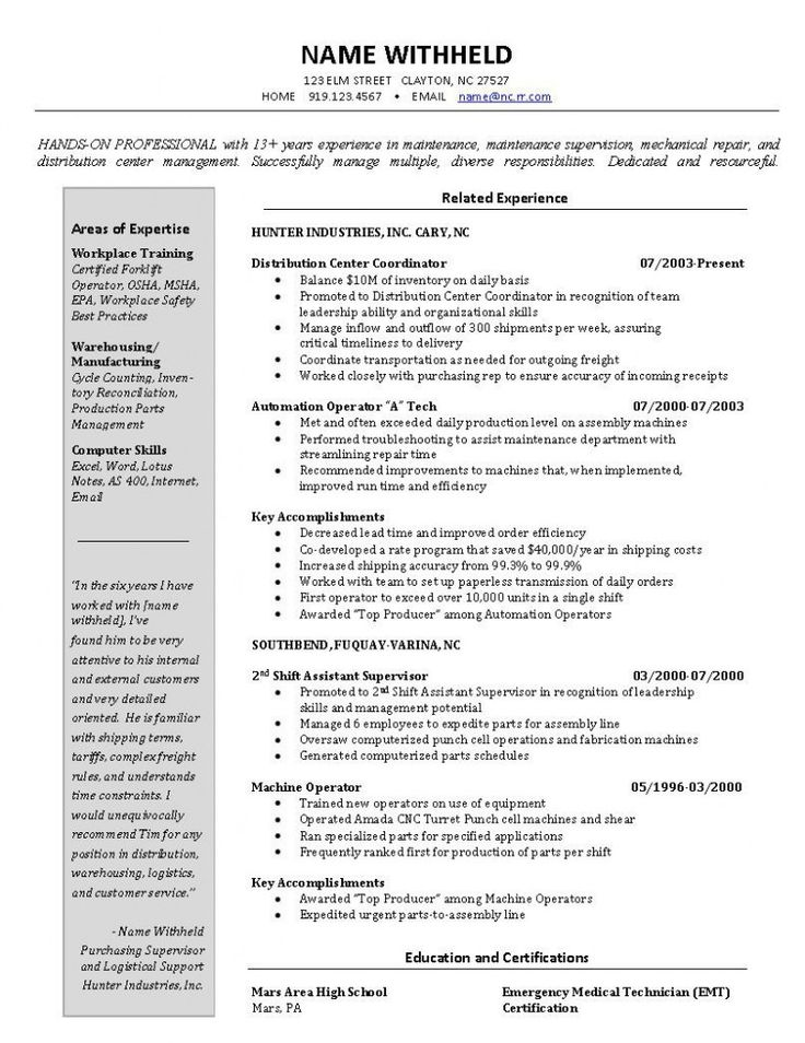 123 best Letter Examples images on Pinterest Resume cover - warehouse technician resume