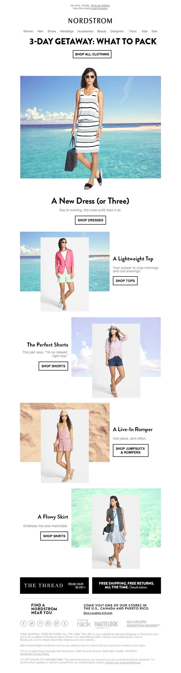 Nordstrom - What to Pack for Your 3-Day Weekend - Good solution for showing location without traveling
