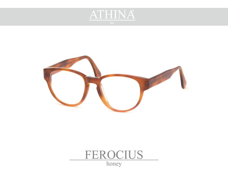 Mod. FER0303V This is a spectacles with a rounded shape, totally made in honey-coloured cellulose acetate.