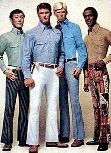 60s mens fashion; bell bottom pants with tucked in long-collared shirts were very prominent. Geometric shapes were also seen on clothes