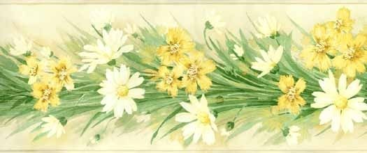 White Daisy With Yellow Flowers Wallpaper Border Mk77685