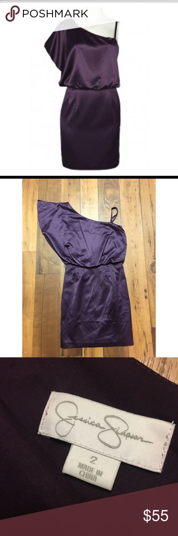 {Jessica Simpson} Purple Silk One Shoulder Dress Size 2. NWT. Retails $128! Silky material and perfect for a night out or for formal events. Jessica Simpson Dresses One Shoulder