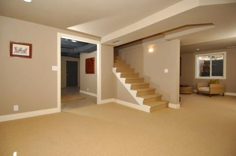 Transitional Basement with light tan carpeted stairs #designmine