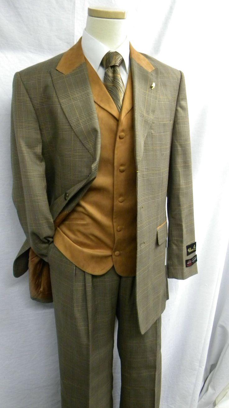 Falcone Mens Plaid Rust Suede Vested Fashion Suit 3755-168 Size 50L