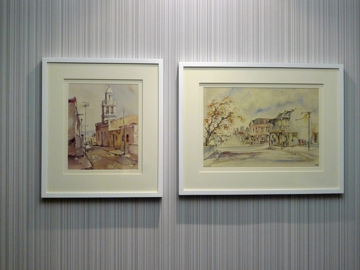 traditional artwork is given a contemporary look with an interesting double mount and new frame
