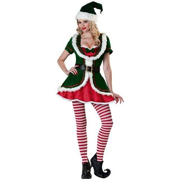 Holiday Ladies Honey Elf Costume ($135) ❤ liked on Polyvore featuring costumes, halloween costumes, multicolor, sexy santa costume, sexy women costumes, ladies halloween costumes, ladies santa costume and santa suit