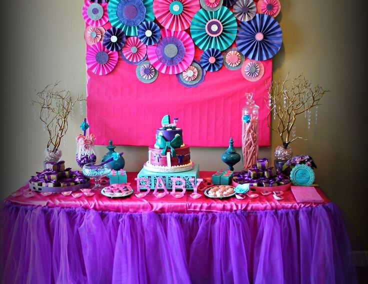 """Pink purple turquoise, It's a girl / Baby Shower """"Baby shower with touch of glamour"""" 