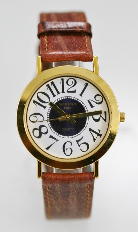 Scottsdale Polo Watch Mens White Blue Stainless Steel Gold Brown Leather Quartz