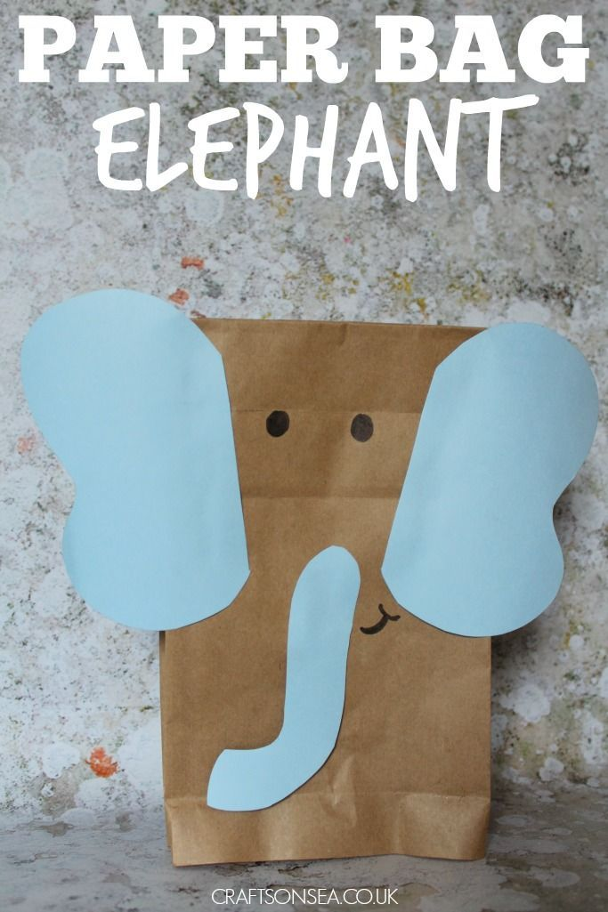 Paper bag elephant easy craft for kids - learn about how elephants are affected by climate change too!
